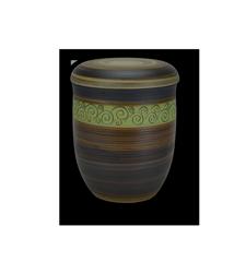 Keramikrnen mit Oxiden eingefärbt, Dekorband in farbiger Engobe, Ritztechnik